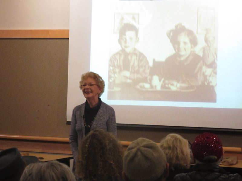 COURTESY OF THE TUALATIN PUBLIC LIBRARY - Anneke Bloomfield speaks at the Tualatin Public Library about her life in the Netherlands during World War II.