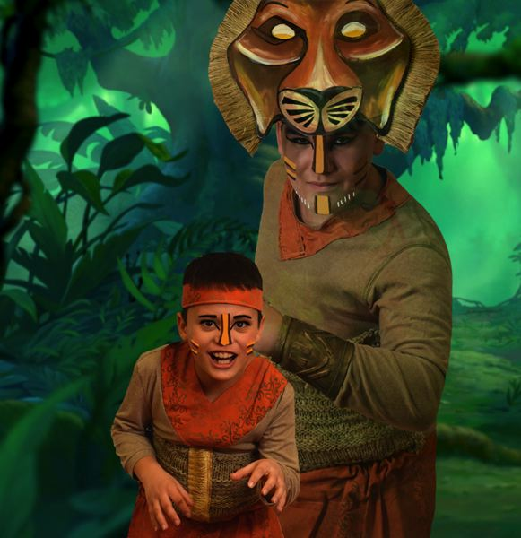 SUBMITTED PHOTO - Detailed masks and colorful costumes help real-life brothers AJ Gaytan, left, as young Simba, and Steven Gaytan, as older Simba, bring their characters to life in 'Lion King Jr.'