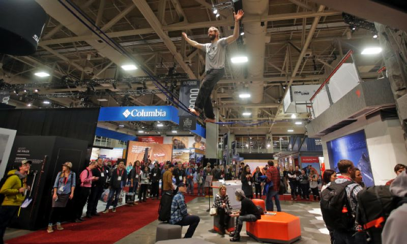 KOIN 6 PHOTO - In this Wednesday, Jan. 11, 2017, photo, people attend the Outdoor Retailer show at the Salt Palace Convention Center in Salt Lake City.