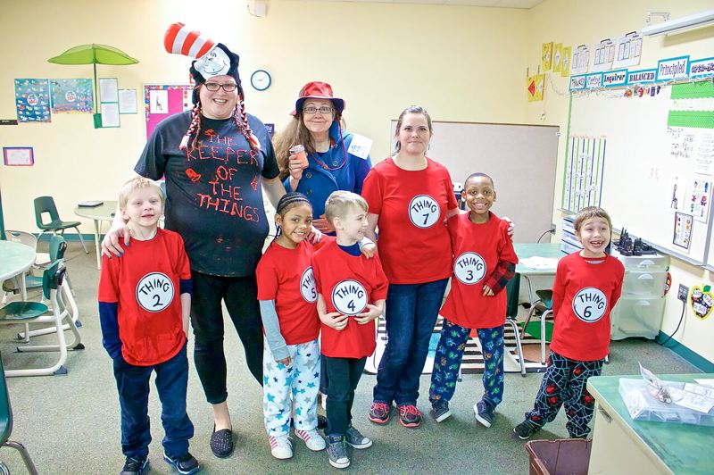 CONTRIBUTED - Salish Ponds Elementary School students and staff celebrate Dr. Seuss's book 'Cat in the Hat' by donning their 'thing' costumes.