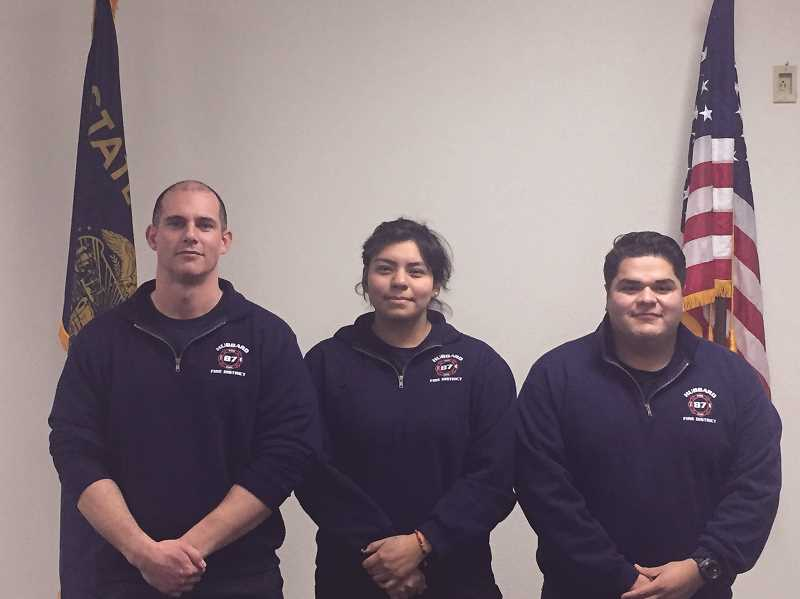 COURTESY PHOTO: HUBBARD FIRE DISTRICT - Caleb Barnes, Diana Cruz and Damian Alonso-Serrano have completed the required 180 hours of initial training and have participated in live fire scenarios.