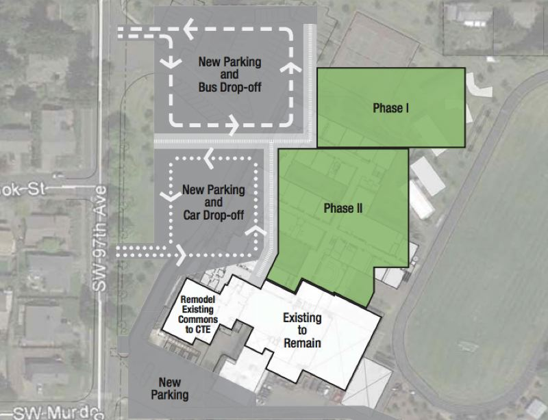 COURTESY OF THE TIGARD-TUALATIN SCHOOL DISTRICT - A newer portion of Twality Middle School will remain, but much of the 1960-vintage building will be torn down and rebuilt.