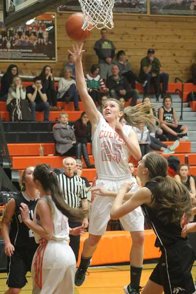 WILL DENNER/MADRAS PIONEER - Senior Jessica Johnson (25) made steady improvements throughout her high school career to earn a CBC second-team nod.