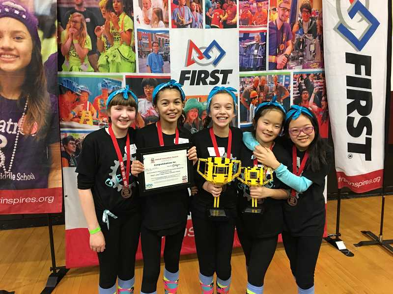 SUBMITTED PHOTO - G.E.A.R.S. finished first in state in a number of categories March 4. From left, Lily Pruzek, Anika Sukmar, Katelyn LeBlanc, Cynthia Yang and Melinda Lin pose with one of their awards.