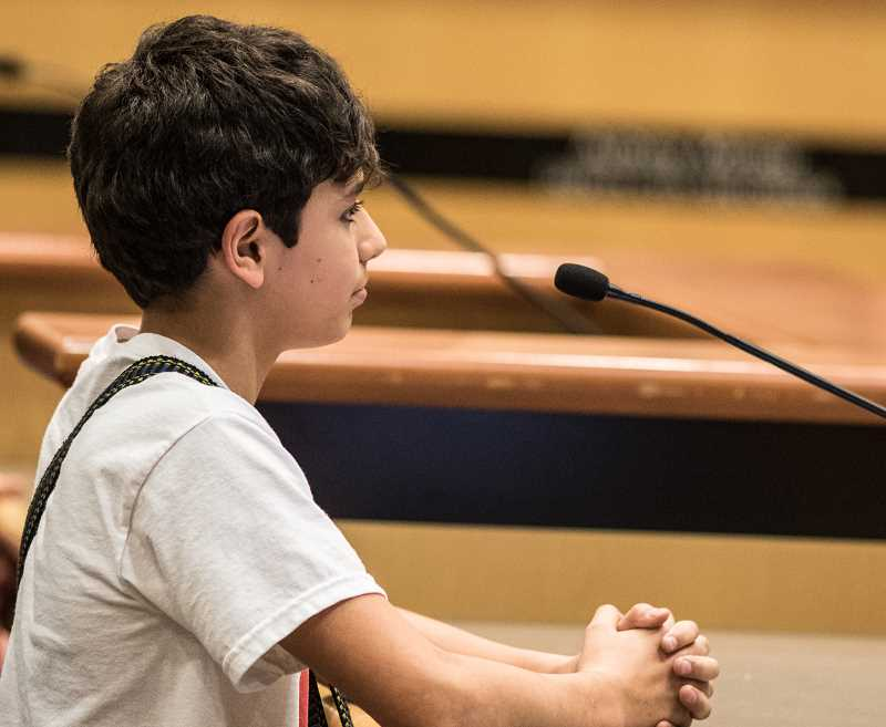 HILLSBORO TRIBUNE PHOTO: CHASE ALLGOOD - Evergreen Middle School student Andrew Graves told councilors his friends who are undocumented 'come to me and ask me what to do.'
