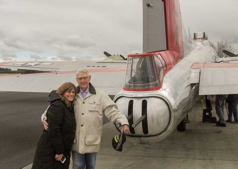 ESTACADA NEWS PHOTO: EMILY LINDSTRAND - Norman Norquist and his daughter Wendy Stearns took a flight on a restored B-17 bomber on Saturday, March 4. Norman served as a tail gunner on the same type of plane during World War II.