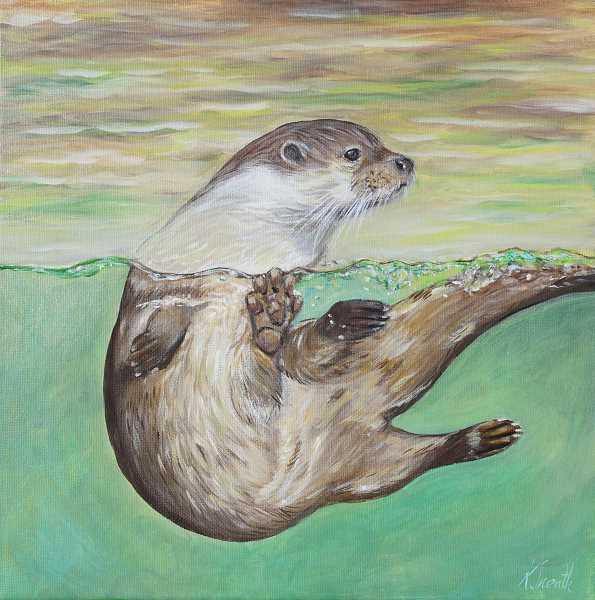 SUBMITTED PHOTO - Based off of one of her childrens favorite posters at their home, Sneath painted this playful otter at the request of her children.
