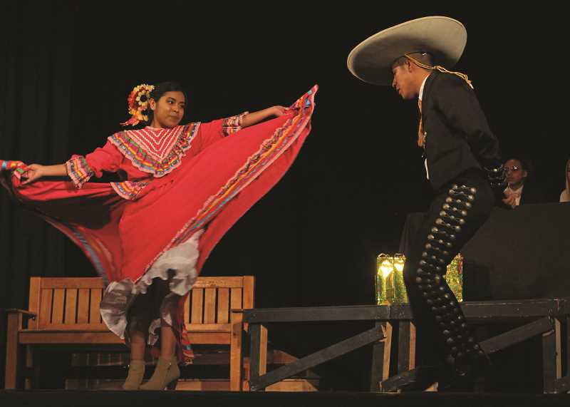 INDEPENDENT PHOTO: JULIA COMNES - Maria Martinez and Christopher Martinez Morales from the Academy of International Studies perform a traditional Mexican dance in the talent competition.