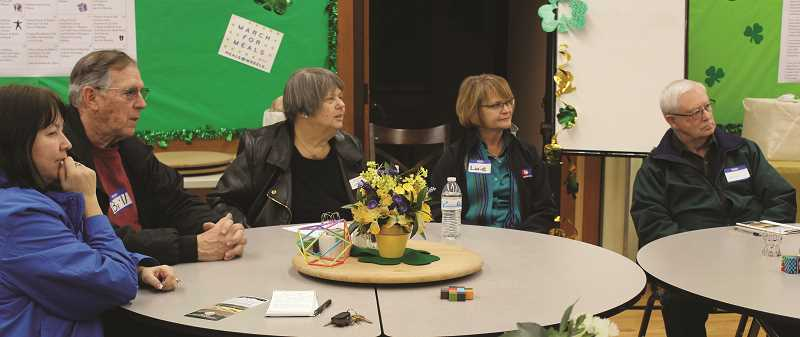 PEGGY SAVAGE - Lynn Blatter, third from left, leads a discussion at the Drive to Zero Town Hall in Molalla Thursday night.