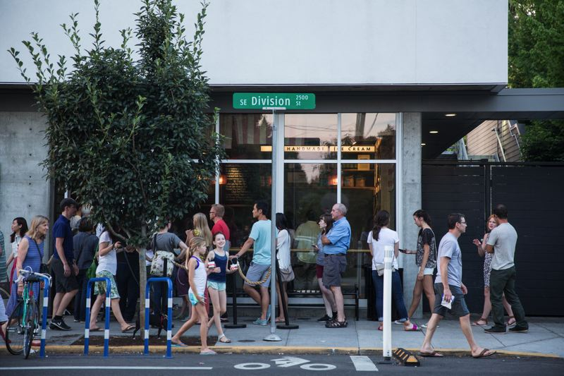 COURTESY: TRAVEL PORTLAND - People will line up for ice cream  at all hours at Salt & Straw on Southeast Division Street, locals and tourists alike.