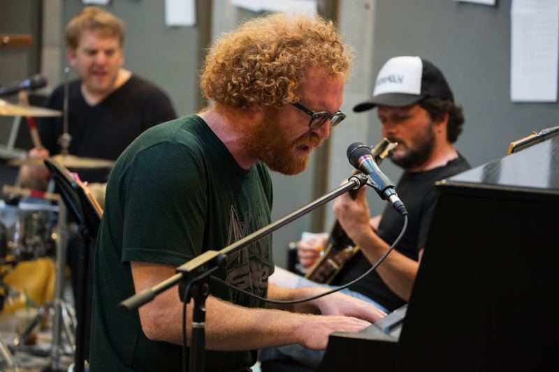 COURTESY: KATE SZROM - Members of Blitzen Trapper — (from left) Brian Adrian Koch, Marty Marquis, Michael Van Pelt — rehearse for 'Wild and Reckless' during the JAW Festival. The band's theater concert debuts March 16.