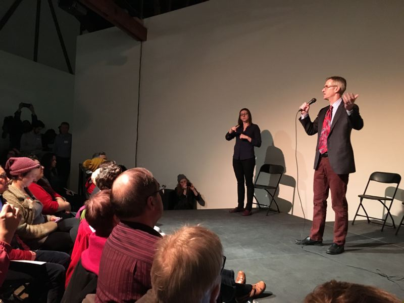 TRIBUNE PHOTO: LYNDSEY HEWITT - Mayor Ted Wheeler addressed Kenton residents at the neighborhood meeting March 8.