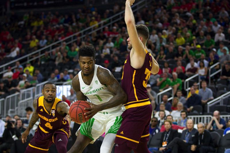 COURTESY: JOSH ORCUTT/THE STATE PRESS - Oregon Ducks forward Jordan Bell drives to the basket against Arizona State on Thursday at T-Mobile Arena in Las Vegas.