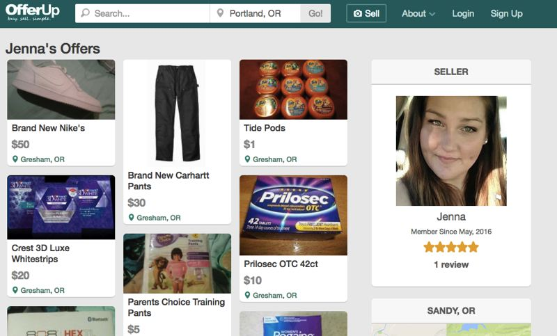 SCREENSHOT  - Jenna Hollingshead's profile on online shopping website OfferUp.