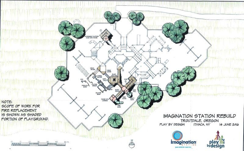FILE GRAPHIC - A Play By Design illustration shows one option for rebuilding the third of Imagination Station destroyed by fire. The Troutdale City Council voted to replace the entire structure on Tuesday, Aug. 9.