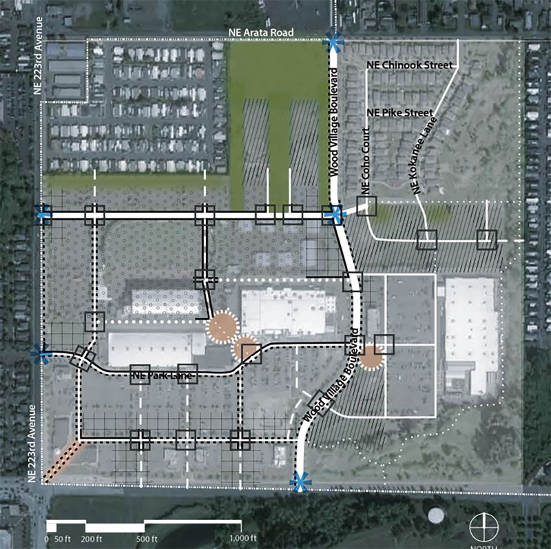 CONTRIBUTED GRAPHIC - A government plan for the Wood Village town center is just wishful thinking in the eyes of the law. Plazas are marked as circles.