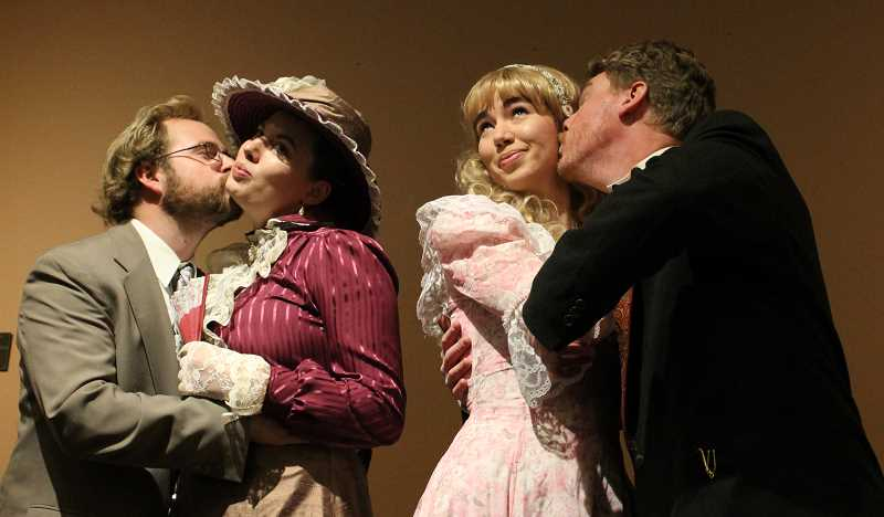 "HOLLY SCHOLZ - The four lead roles in ""The Important of Being Earnest"" rehearse a romantic scene earlier this week. Pictured left to right, Tristan Rosenau, Brin McAtee-Rosenau, Sarah Ebey and Jason Jones."
