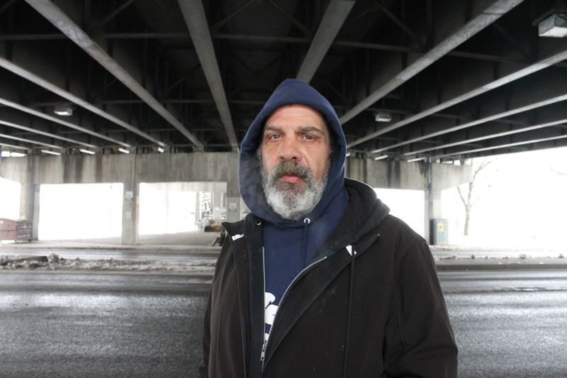 TRIBUNE PHOTO: LYNDSEY HEWITT - Rick Heine, 48, was sleeping under the Morrison Bridge in January. He says it's hard to get clean in Portland.