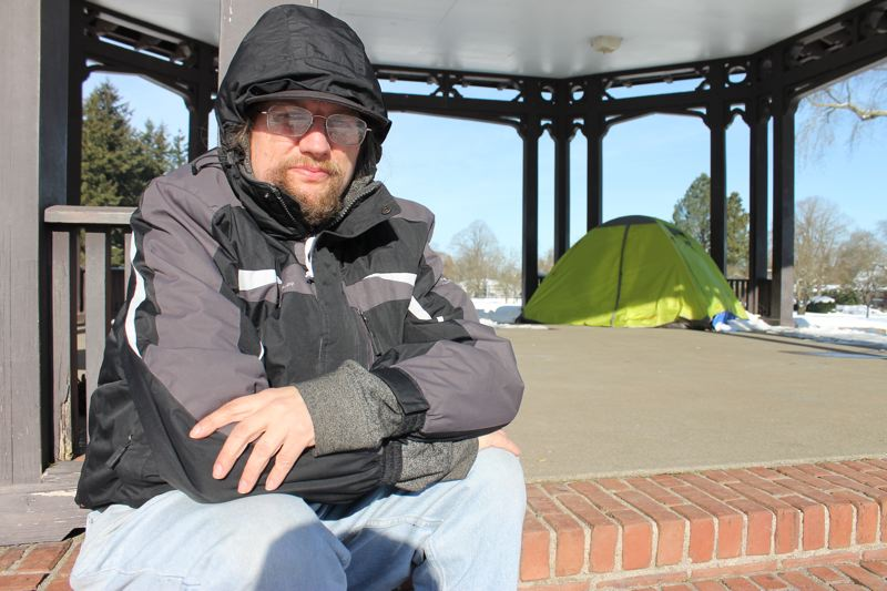 TRIBUNE PHOTO: LYNDSEY HEWITT - Terrance Kjellesvig, 44, was sleeping in a tent in Peninsula Park in January. Like Heine, he says showering in Portland is difficult.