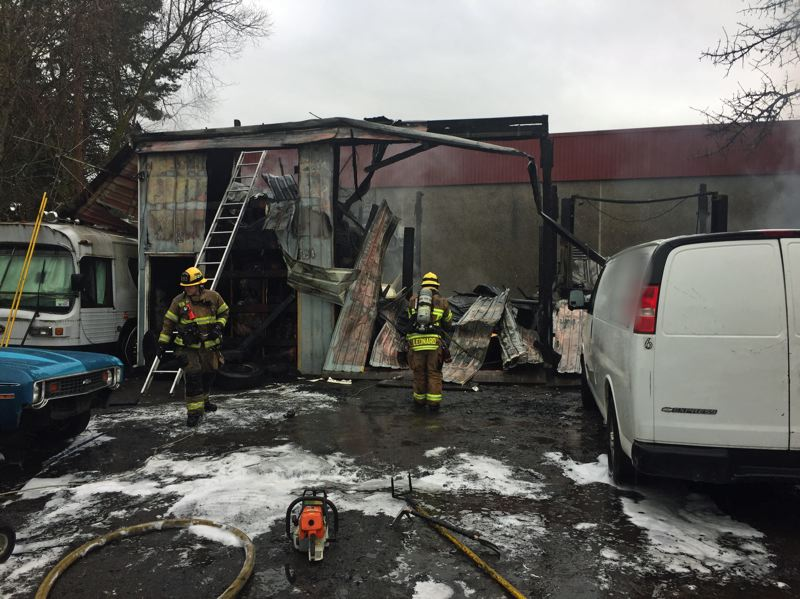 PHOTO TVF&R - The small metal structure, which housed an auto repair shop, was destroyed in the fire.