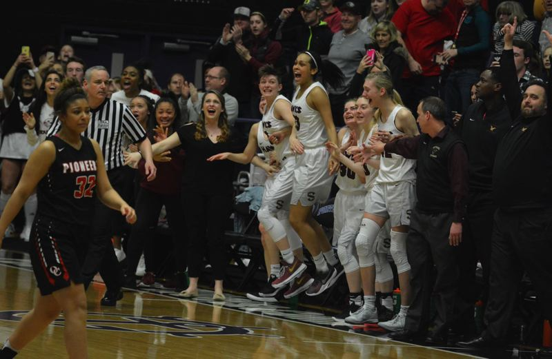TIMES PHOTO: MATT SINGLEDECKER - The Southridge girls basketball team beat Oregon City in the Class 6A state championship for its first state crown since 2010.