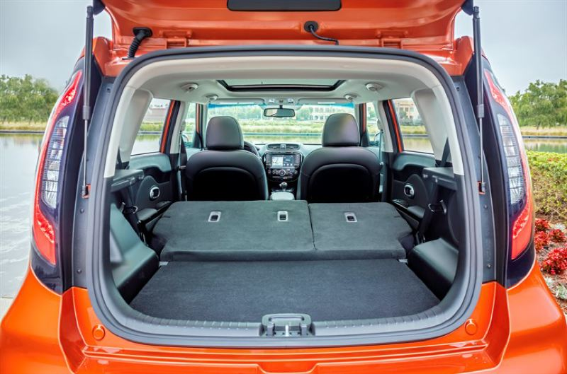 KIA MOTORS AMERICA - There's plenty of cargo room under the huge hatch in the 2017 Kia Soul, and even more with the rear seats folded forward.
