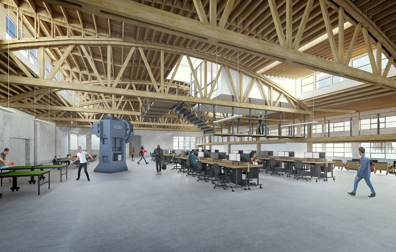 A RENDERING COURTESY SCOTT EDWARDS ARCHITECTURE - A rendering courtesy Scott Edwards Architecture shows how office space might be configured, Hogwarts dining hall style, for modern tech workers.