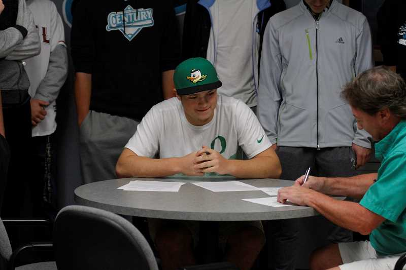 HILLSBORO TRIBUNE PHOTO: WADE EVANSON - Century's Kolby Somers leads the Jaguars' baseball team and will be heading to the University of Oregon next year to play for the Ducks.