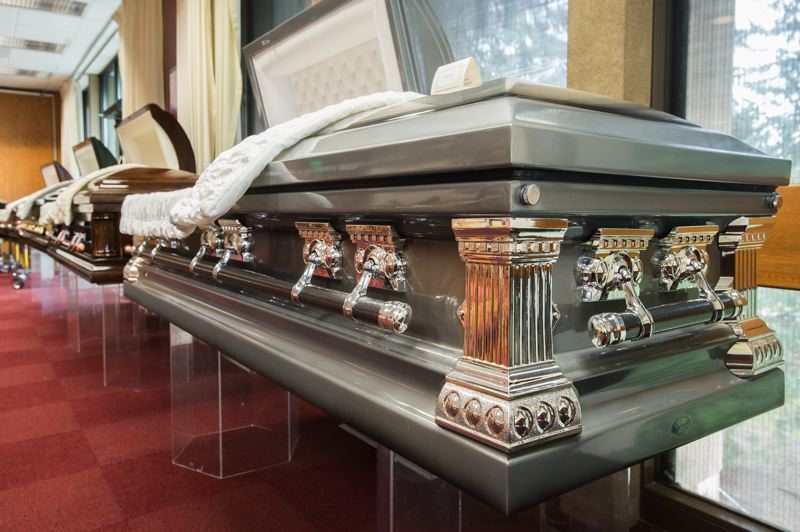OUTLOOK PHOTO: JOSH KULLA - An ornate casket on display at a recent event put on by the MHCC funeral services department.