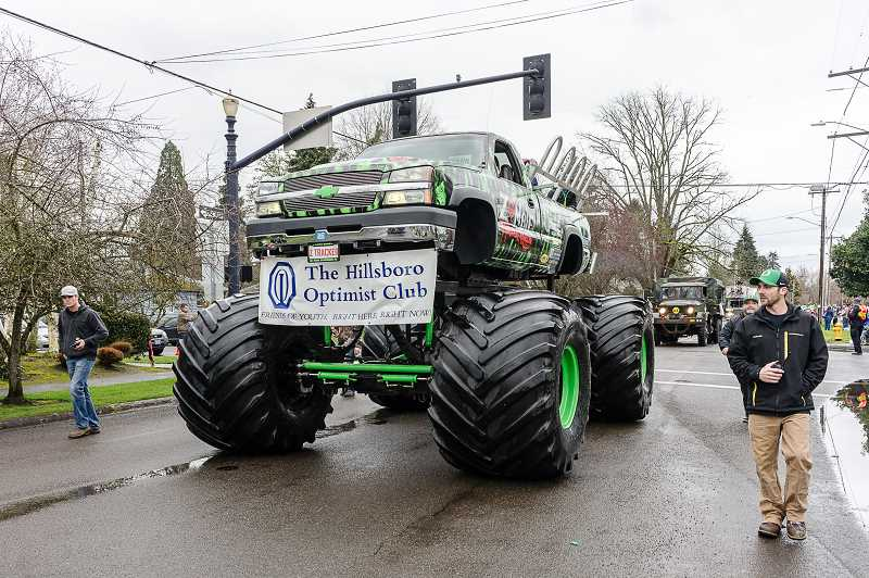 NEWS-TIMES PHOTO: CHASE ALLGOOD - The Hillsboro Optimist Club runs a monster truck through the heart of downtown Hillsboro.