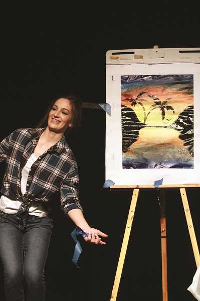 PHIL HAWKINS - Pageant contestant Naomi Saalfeld painted a sunset during the talent competition of the event.