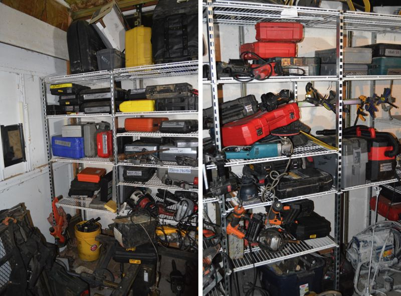 GRESHAM POLICE - Detective Brandon Crate says '90 percent' of these tools are suspected to be stolen. They were found in three cargo trailers parked at 136 N.E. 202nd Ave. in Rockwood.
