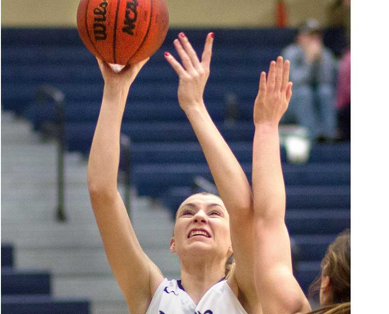 GRAPHIC FILE PHOTO - George Fox forward Kaitlin Jamieson was named a first-team All-Northwest Conference performer after leading the league in field goal percentage (56.8) and blocks (73). She also averaged 13.3 points and 6.7 rebounds per game.