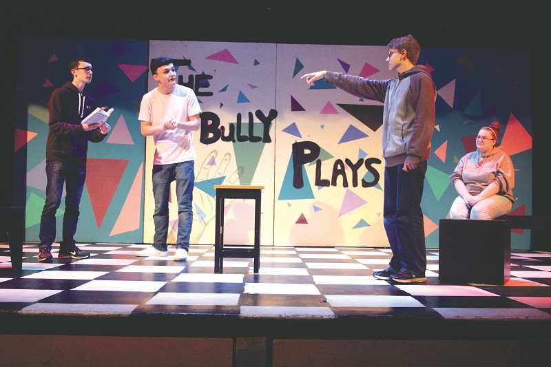 LINDSAY KEEFER - (From left) Travis Coppinger, Matthew Alvarez, Cole Younger and Sabrina Hook rehearse a scene from the play, which will be performed for the public at 7:30 p.m. Friday and Saturday.