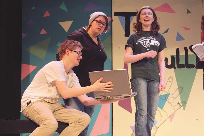 "LINDSAY KEEFER - (From left) Andrew Cloughley, Kayla Smith and Abby Hughes perform one of the vignettes in ""The Bully Plays."""