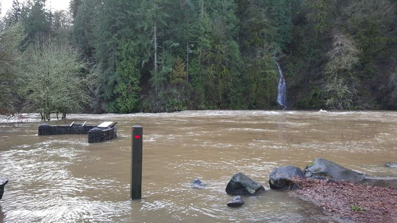 TRIBUNE FILE PHOTO - The Tualatin River has overflowed its banks before, covering parts of the Fields Bridge Park.
