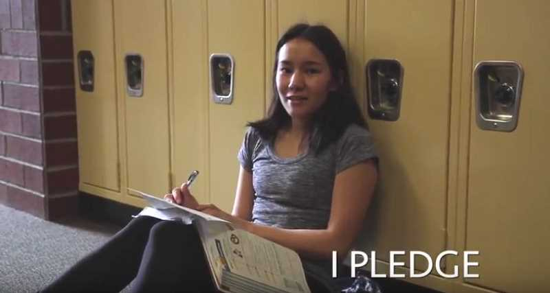 SUBMITTED PHOTO: COURTESY OF LOHS - LOHS senior Max Foster pledges to be kind online in this still photo from a student-made video by Cher Feng.