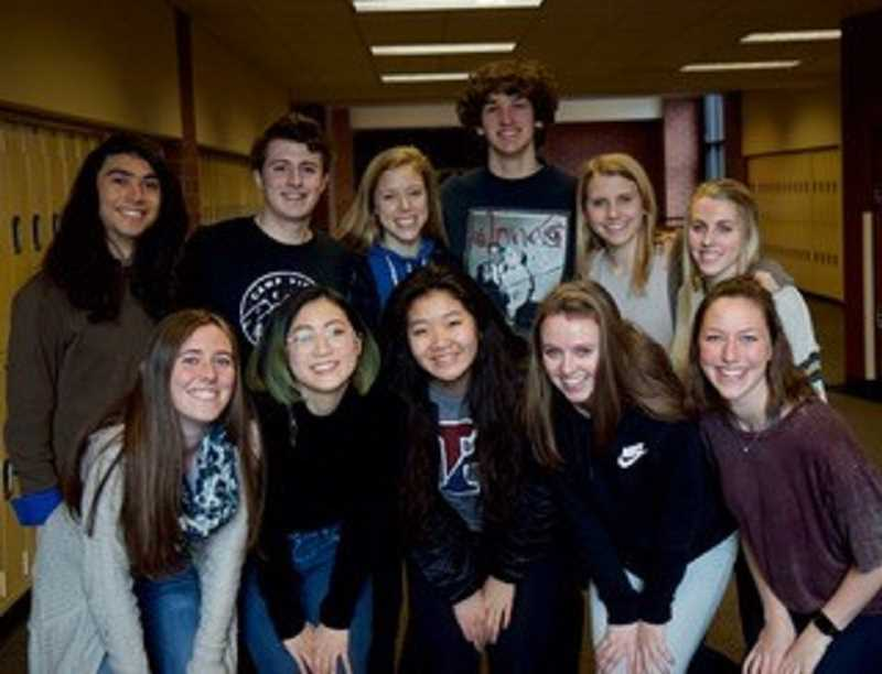 SUBMITTED PHOTO: CHRIS HILL - Associated Student Body members helped make the Pledge to Be Kind Online come to fruition. ASB members include, from left: front row, Kaylee Nicoll, Cher Feng, Jenny Kwon, Sam Rudder and Ellie Moreland; and back row, Keon Feldsien, Nick Franz, Cami Dozois, J.P. Miska, Katy Howells and Emily Reno.
