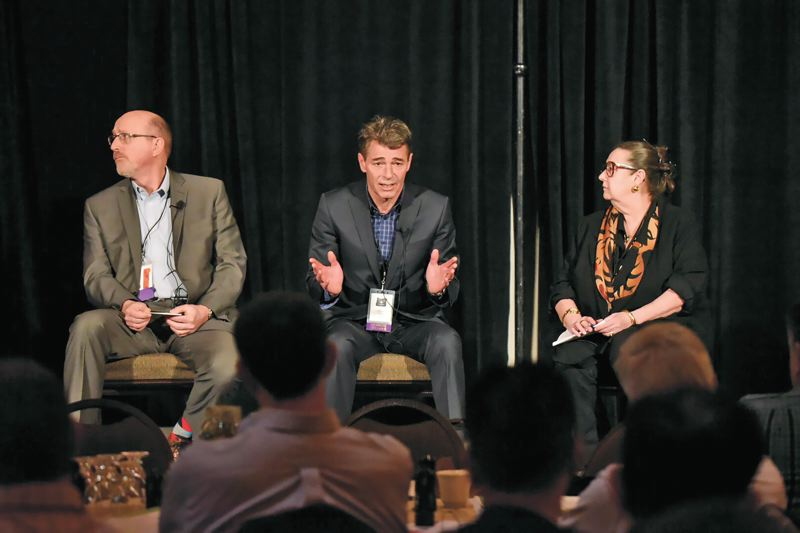 PHOTO: BRIAN AULICK - (L-R) On Monday Bill Gerry, program manager for Global Technology at Boeing in Gresham, Adrian Allen, cofounder of the Advanced Manufacturing Research Centre in Sheffield, U.K., and State Senator Betsy Johnson, called on manufacturers to explain modern manufacturing to elected officials and sell the idea of the Oregon Manufacturing Innovation Center in Scappoose.