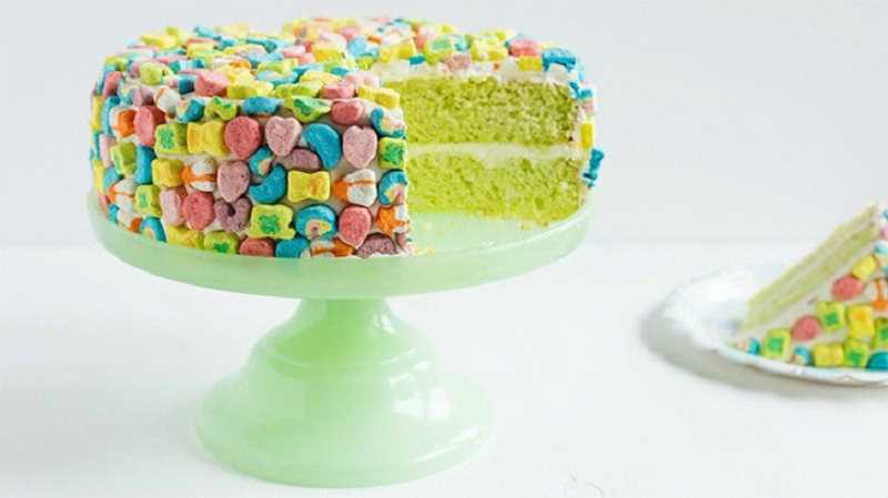 (Image is Clickable Link) SUBMITTED PHOTO: BETTY CROCKER - This festive cake is perfect for St. Patricks Day. Simply bake your favorite cake mix, then frost and decorate with Lucky Charms cereal and marshmallows.