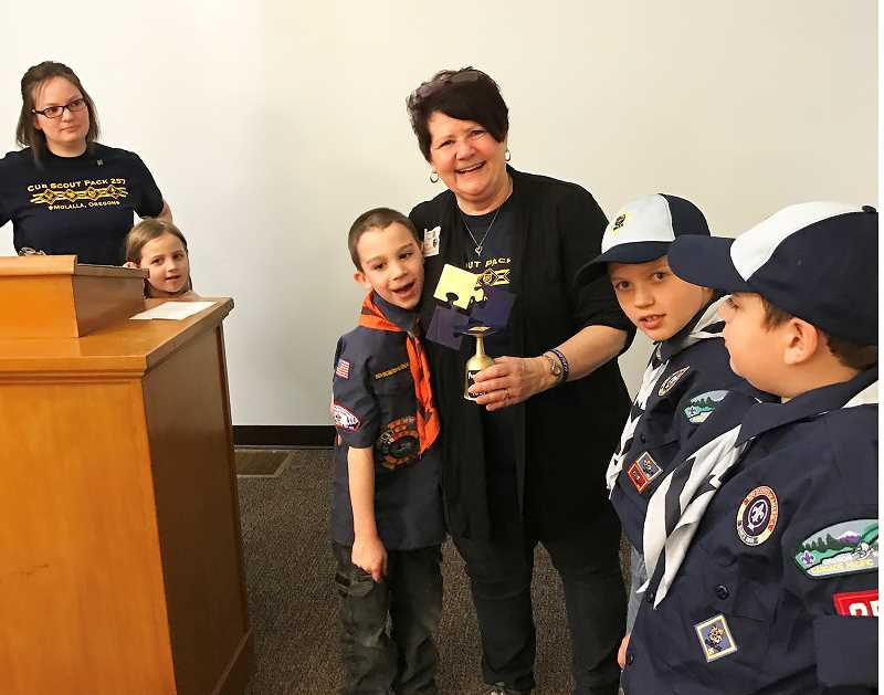 CHARLIE WILLIAMS - At the first Blue and Gold Banquet for Molalla's Cub Scout Pack 257, Susan Williams, who with husband Charlie