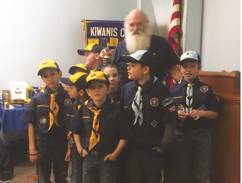 Charlie Williams, Chartered Organization Representative for the pack, with some of the scouts.