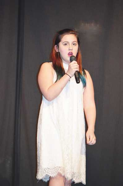 PIONEER PHOTO: CINDY FAMA - Dahlia Lee performs Ambassador's 'Unsteady' atthe eighth annual Stars on Stage fundraiser.