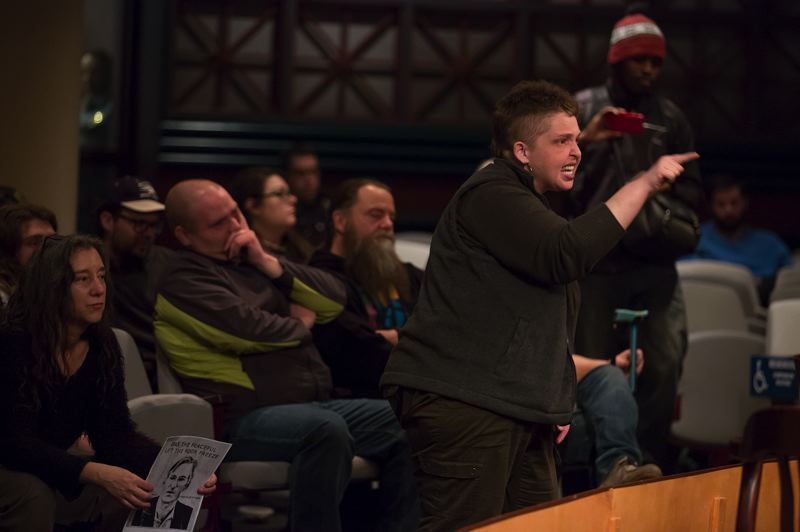 PORTLAND TRIBUNE: JONATHAN HOUSE - Exchanges got heated with protesters during Wednesday's council meeting.