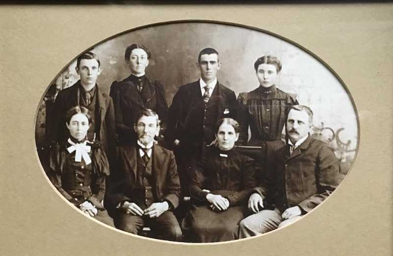 SUBMITTED PHOTO - A photograph taken around 1900 shows members of the Vose family. Front row (from left): Emily, Abram (father), Mary Jane (mother) and Victor. Back row (from left): Burget, Martha, Hayes and Irma.