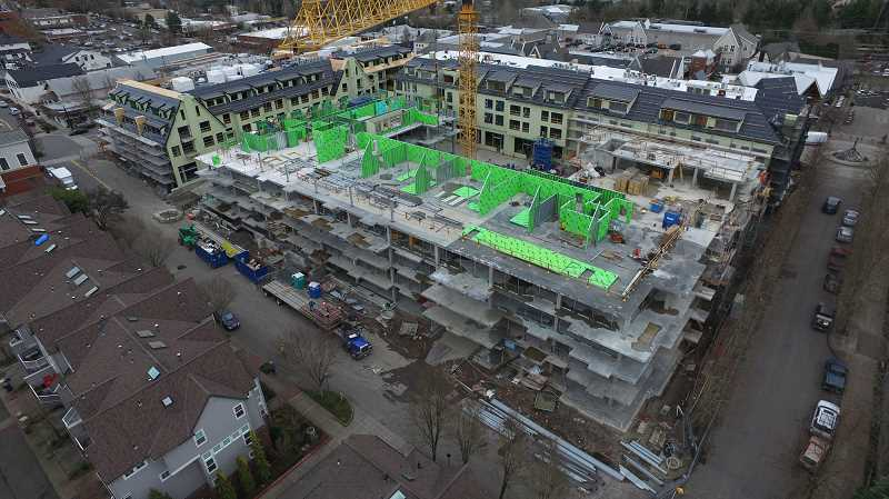 REVIEW PHOTO: ALVARO FONTAN - March 10, 2017: Now that the concrete pours are done, Building B on Second Street is starting to take shape. Walls, roof panels and the sloped-roof steel will be placed next.