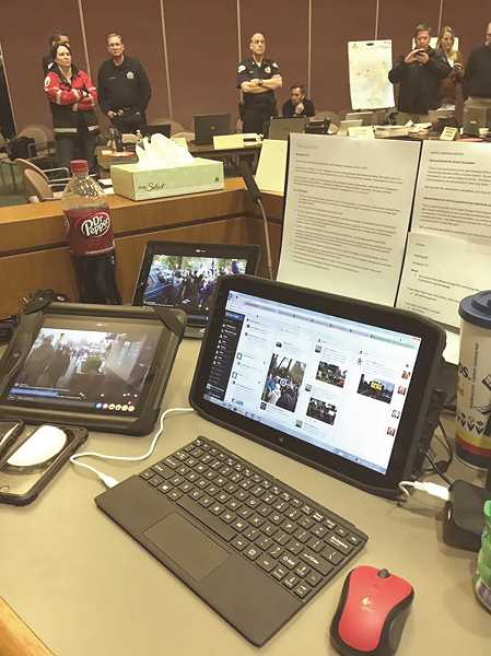 SUBMITTED PHOTO: CITY OF LAKE OSWEGO - City staff focused on communications, tactics, medical support and more from an Incident Command Center inside City Hall. Officals say they used the same command approach that the city practices for all large-scale emergencies.