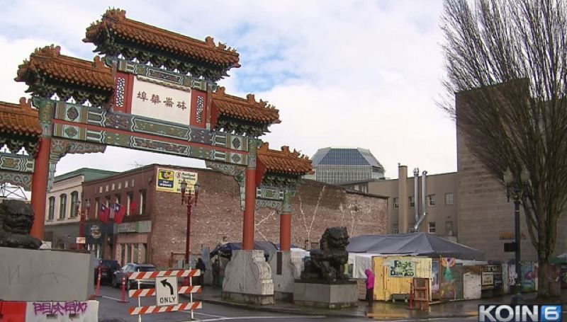 KOIN 6 NEWS - The Right 2 Deam Too homeless camp is located next to the ceremonial entrance to the Old Town/Chinatown neighborhood.