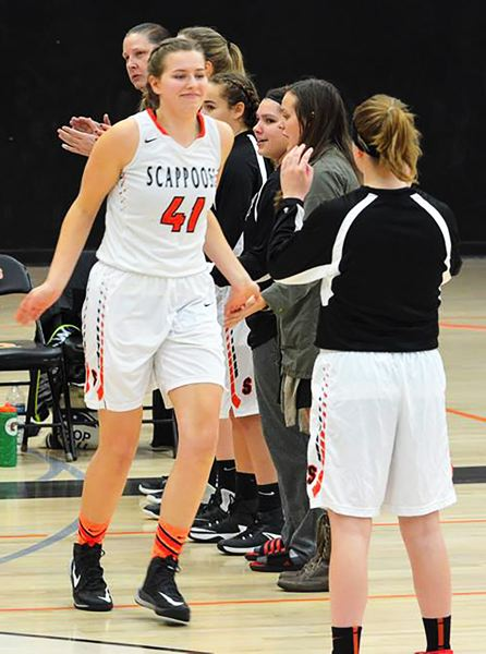 SPOTLIGHT PHOTO: JAKE MCNEAL - Indians senior center Kaylie Kopra (41) is an all-Cowapa League first-teamer.