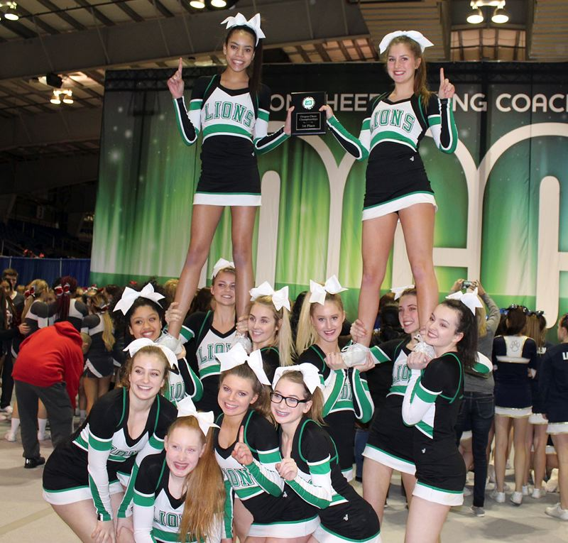 SUBMITTED PHOTO - The West Linn junior varsiity cheer team took first place at the Oregon Cheerleading Coaches Association cheer championships in Salem on Feb. 25. This years team included: Top (left to right), Maliah Grant and Hallie Esau; back row, Rose Luna, Katie Bruun, Sarah Miller, Olivia Lawrence, Leilani Metcalf and Audrey Williams; and front row, Elena Ruby, Ashley Newbore, Cassidy Juster and Grace Peterson.